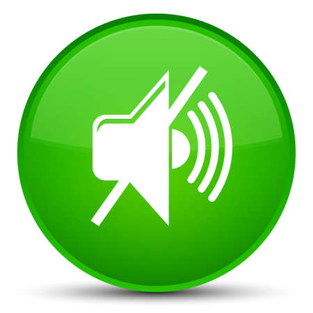 Mute volume icon isolated on special green round button abstract illustration