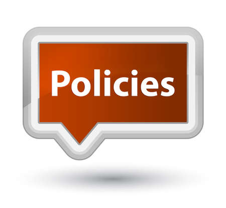 Policies isolated on prime brown banner button abstract illustration