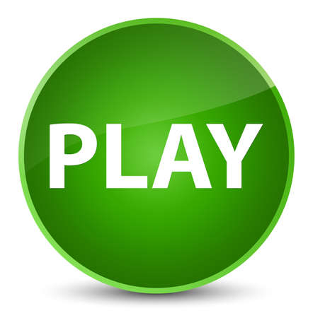 Play isolated on elegant green round button abstract illustration Stock Photo