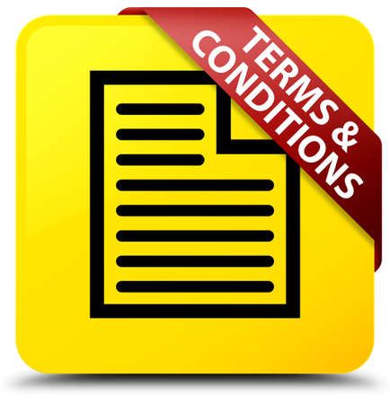 Terms and conditions (page icon) isolated on yellow square button with red ribbon in corner abstract illustration