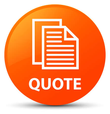 Quote (document pages icon) isolated on orange round button abstract illustration Stock Photo