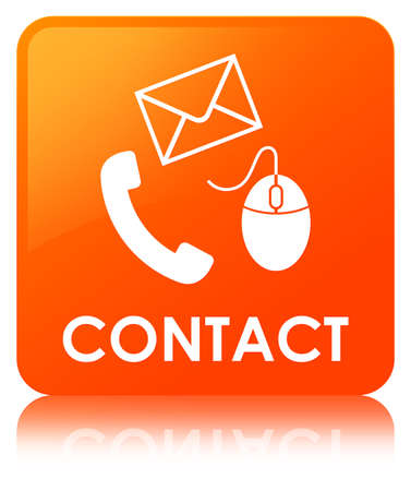 Contact (phone email and mouse icon) orange isolated on square button reflected abstract illustration