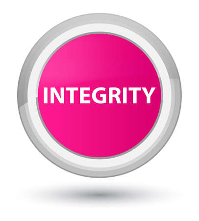 Integrity isolated on prime pink round button abstract illustration Stock Photo
