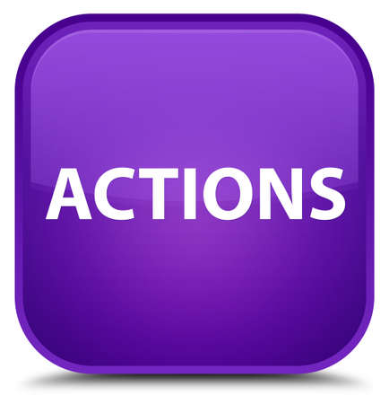 Actions isolated on special purple square button abstract illustration