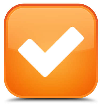 Validate icon isolated on special orange square button abstract illustration