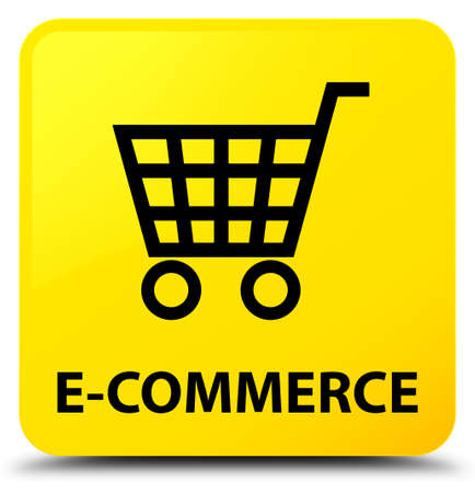 E-commerce isolated on yellow square button abstract illustration
