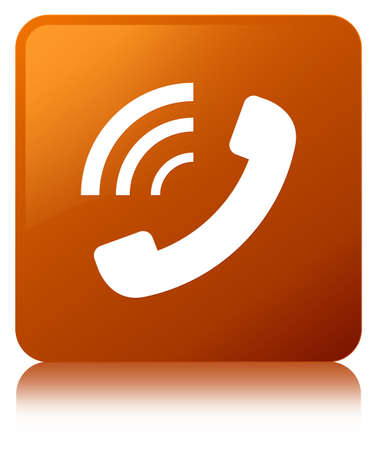 Phone ringing icon isolated on brown square button reflected abstract illustration