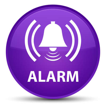 Alarm (bell icon) isolated on special purple round button abstract illustration
