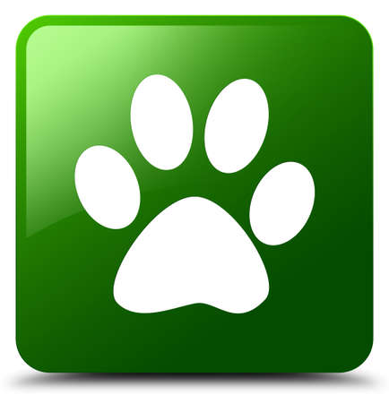 footmark: Animal footprint icon isolated on green square button abstract illustration Stock Photo