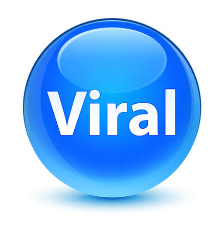 Viral isolated on glassy cyan blue round button abstract illustration