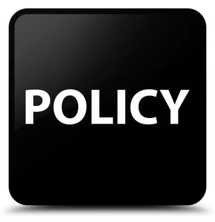 Policy isolated on black square button abstract illustration Banco de Imagens