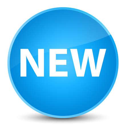 Neu lokalisiert auf eleganter cyan-blauer runder Knopfzusammenfassungsillustration Standard-Bild