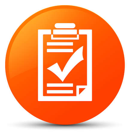 Checklist icon isolated on orange round button abstract illustration Stock Photo