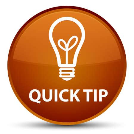 Astuce rapide (icône de l'ampoule) isolé sur une illustration abstraite spéciale bouton rond brun Banque d'images - 89029678