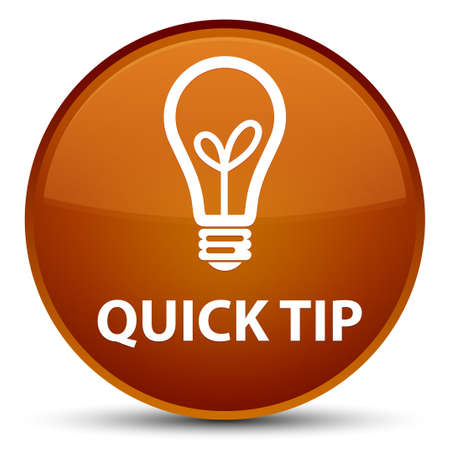 Quick tip (bulb icon) isolated on special brown round button abstract illustration