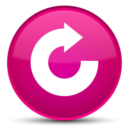 Reply arrow icon isolated on special pink round button abstract illustration Stock Photo