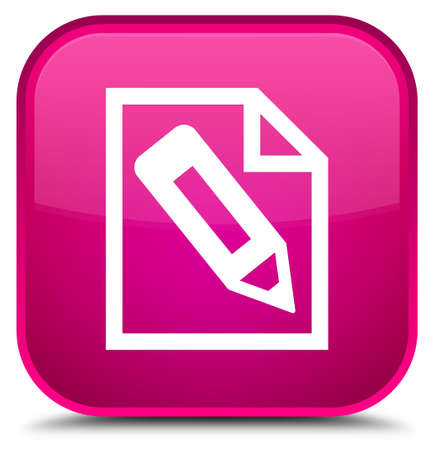 Pencil in page icon isolated on special pink square button abstract illustration