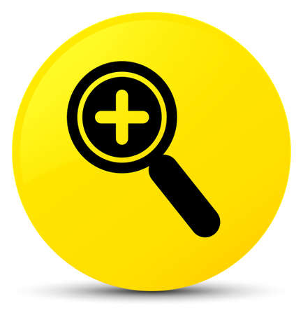 Zoom in icon isolated on yellow round button abstract illustration Stock Photo
