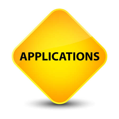 Applications isolated on elegant yellow diamond button abstract illustration Stock Photo