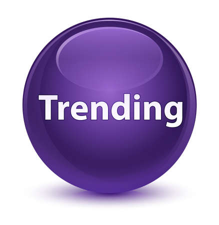Trending isolated on glassy purple round button abstract illustration 스톡 콘텐츠