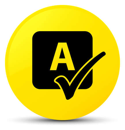 Spell check icon isolated on yellow round button abstract illustration Stock Photo