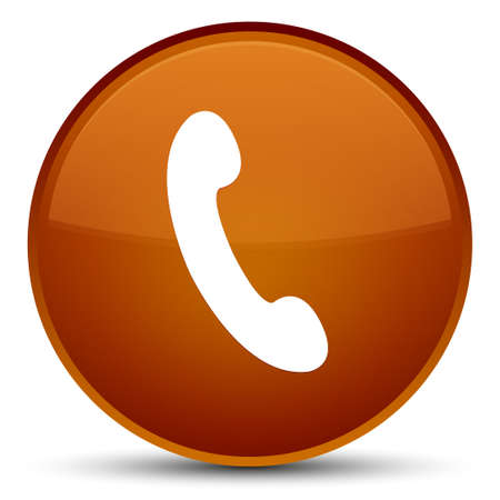 Phone icon isolated on special brown round button abstract illustration