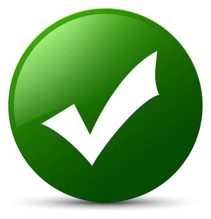 Validation icon isolated on green round button abstract illustration Stock Photo