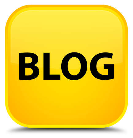Blog isolated on special yellow square button abstract illustration