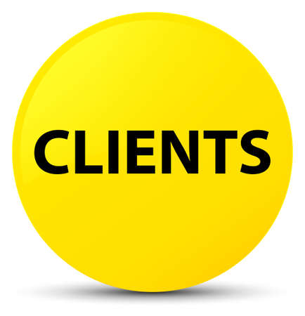 Clients isolated on yellow round button abstract illustration