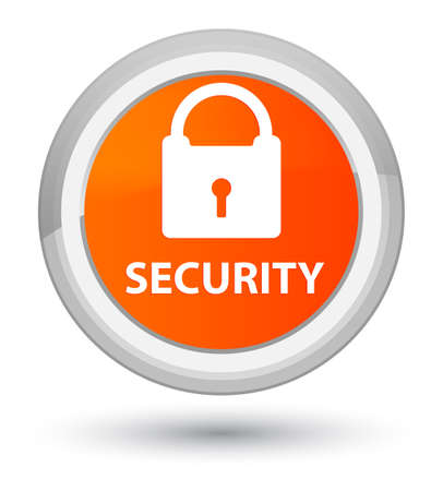Security (padlock icon) isolated on prime orange round button abstract illustration