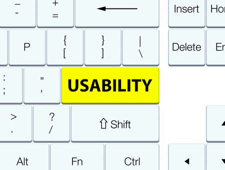 Usability isolated on yellow keyboard button abstract illustration Stock Photo