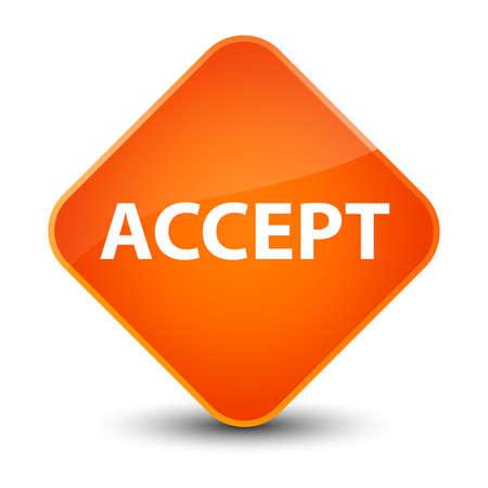 Accept isolated on elegant orange diamond button abstract illustration