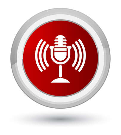 Mic icon isolated on prime red round button abstract illustration