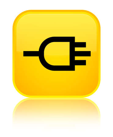 Connect icon isolated on special yellow square button reflected abstract illustration
