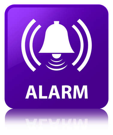 Alarm (bell icon) isolated on purple square button reflected abstract illustration Stock Photo
