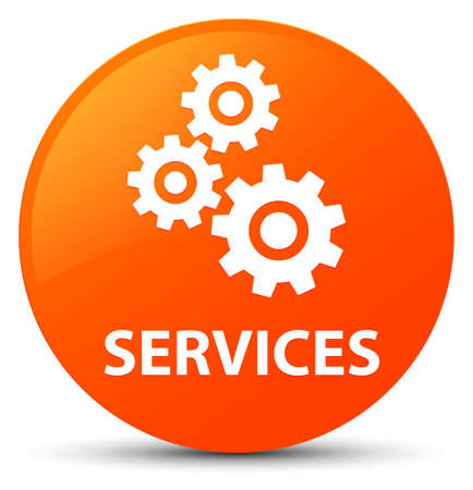 cogwheel: Services (gears icon) isolated on orange round button abstract illustration Stock Photo