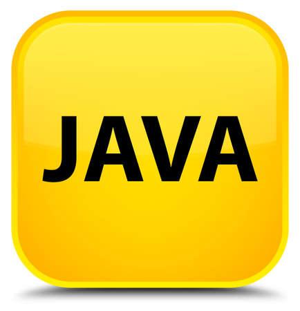 黄色の正方形ボタンの特別な抽象的なイラストに分離された Java 写真素材