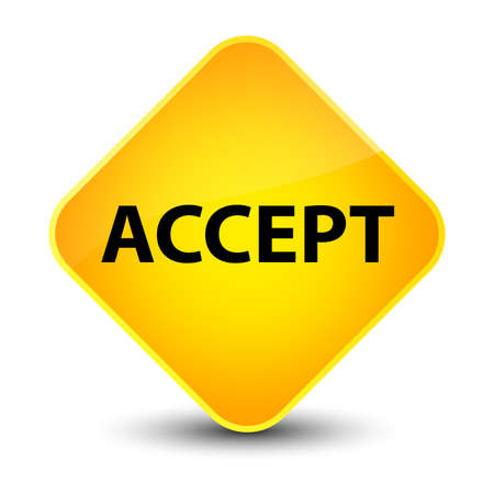 Accept isolated on elegant yellow diamond button abstract illustration