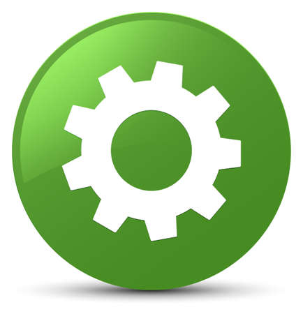 Process icon isolated on soft green round button abstract illustration Stock Photo