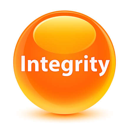 Integrity isolated on glassy orange round button abstract illustration