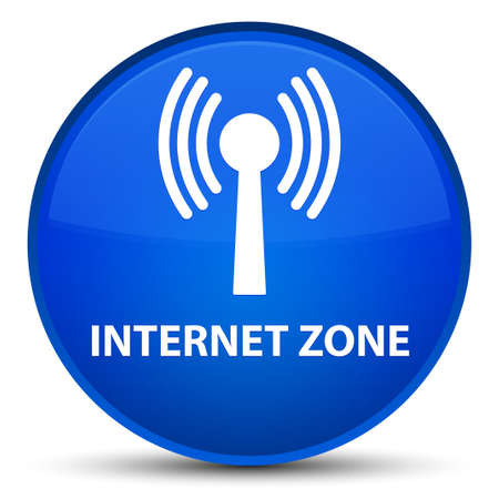 Internet zone (wlan network) isolated on special blue round button abstract illustration Stock Photo