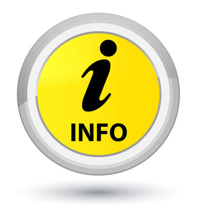 Info isolated on prime yellow round button abstract illustration