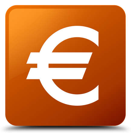 Euro sign icon isolated on brown square button abstract illustration