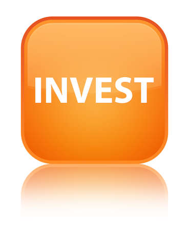 Invest isolated on special orange square button reflected abstract illustration