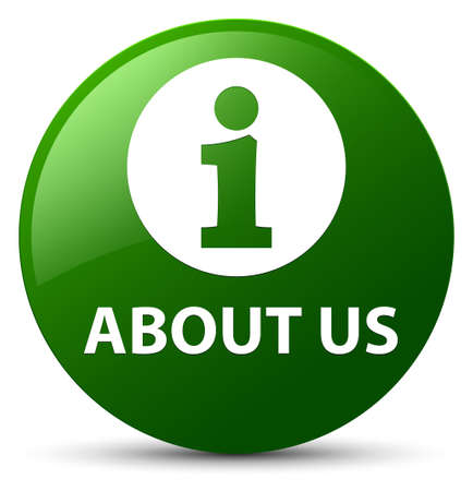 about: About us isolated on green round button abstract illustration