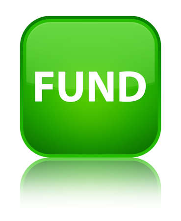 Fund isolated on special green square button reflected abstract illustration