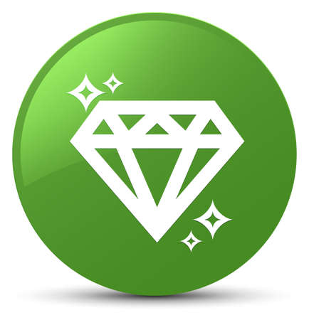 crystal button: Diamond icon isolated on soft green round button abstract illustration