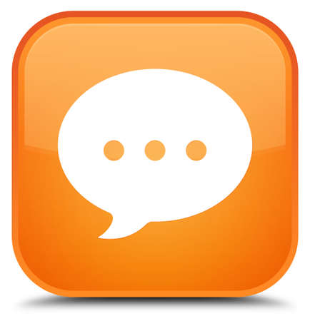 Conversation icon isolated on special orange square button abstract illustration