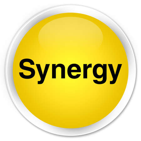 sinergia: Synergy isolated on premium yellow round button abstract illustration