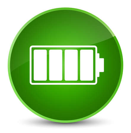Battery icon isolated on elegant green round button abstract illustration Stock Photo